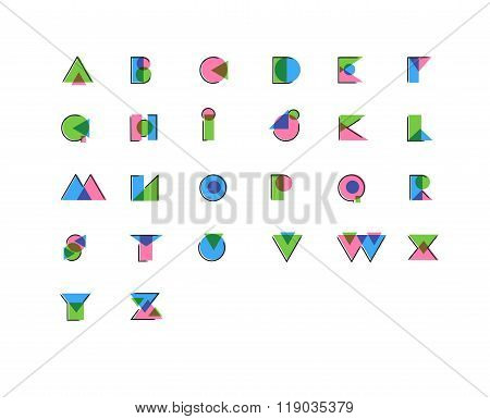 Geometric Stylized Offset Print, Anaglyph, Overprint Effect Font. Use Letters To Make Your Own Text,