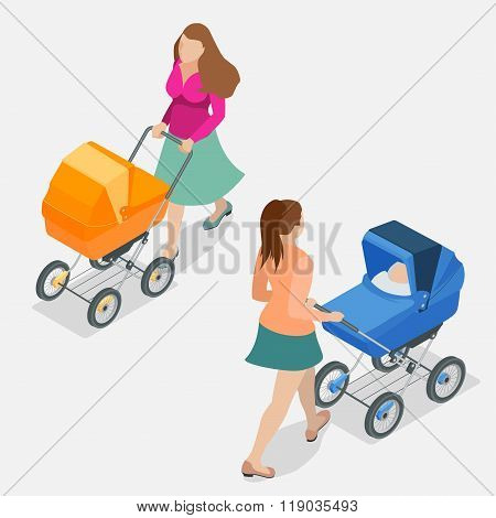 Mother pushing a baby stroller isolated against background. Isometric flat 3d vector illustration -