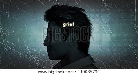 Man Experiencing Grief as a Personal Challenge Concept