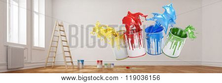 Four colors splashing in room from paint buckets (3D Rendering)