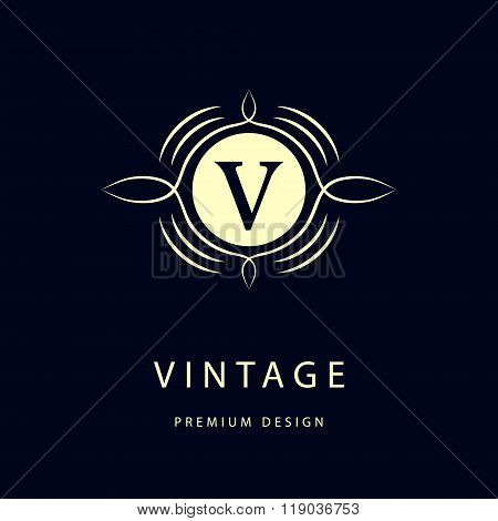 Monogram Design Elements, Graceful Template. Elegant Line Art Logo Design. Business Sign, Identity F