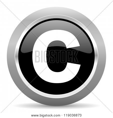 copyright black metallic chrome web circle glossy icon