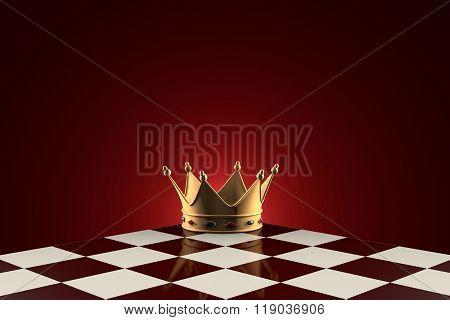 Golden Crown (symbol Of Power). Chess Metaphor.