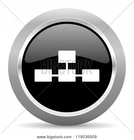 database black metallic chrome web circle glossy icon