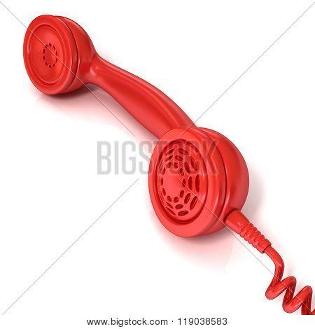 Red telephone handset retro illustration
