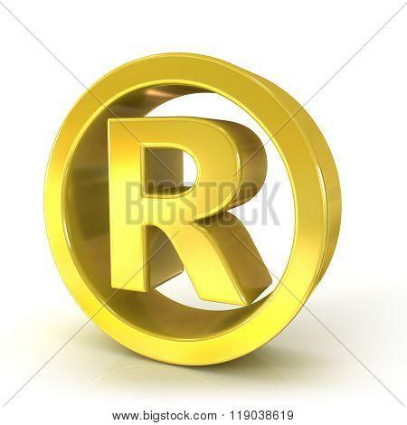 Registered trademark 3D golden sign