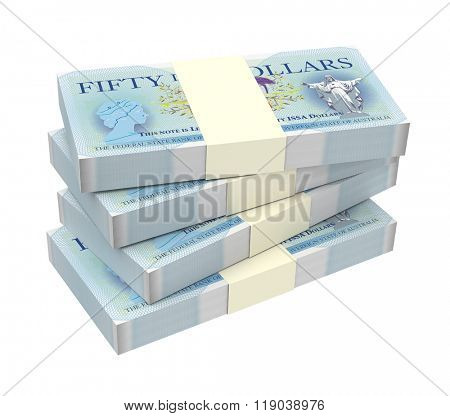 Independent Sovereign State of Australia bills stacks background. Computer generated 3D photo rendering.