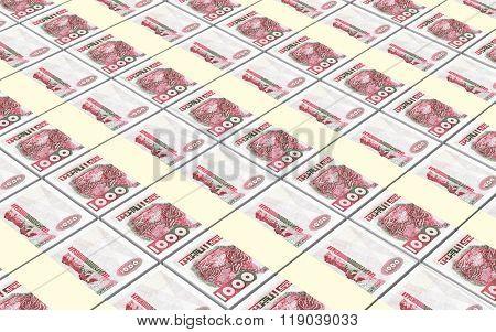 Algerian dinar bills stacks background. Computer generated 3D photo rendering.