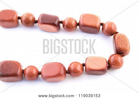 Mineral Gem Stone Orange Brown Aventurine Isolated On White Background