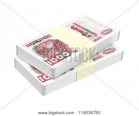 Algerian dinar bills isolated on white background. Computer generated 3D photo rendering.