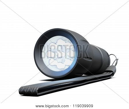 Flashlight Closeup Isolated On White Background. 3D Rendering