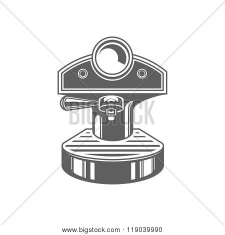 Coffee Machine Vector Illustration. Coffee Machine Silhouette Isolated On White Background. Vector object for Labels, Badges, Logos Design. Coffee Logo, Symbol, Retro Logo.