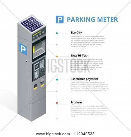 Parking meter allowing payment by mobile phone, credit cards, coins. Infographic isometric flat 3d i