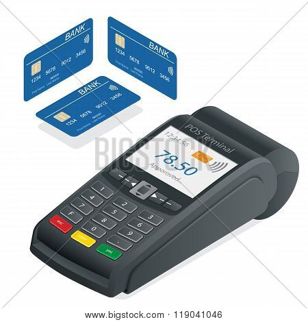 Credit card terminal on a white background. POS Terminal and debit credit card, near field communica