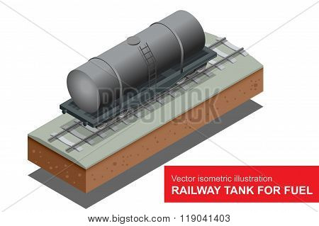 Vector isometric illustration of Railway tank for fuel. Rail freight transportation. Railway tank for transportation of petroleum products.