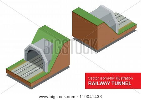 Vector isometric illustration of  railway tunnel. Deep metro tunnel under construction.