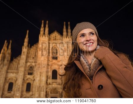 Smiling Woman In The Front Of Duomo In The Evening Looking Aside