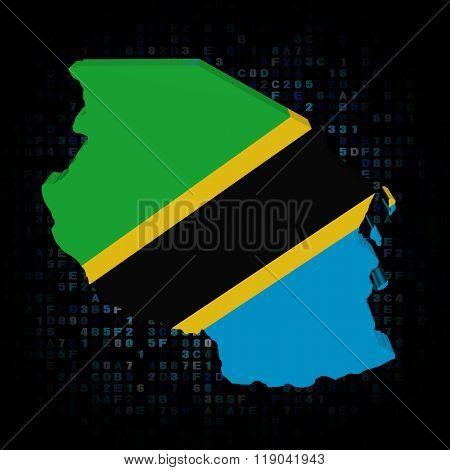 Tanzania map flag on hex code illustration