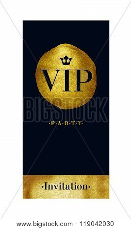 VIP invitation card with golden paint brush stroke.