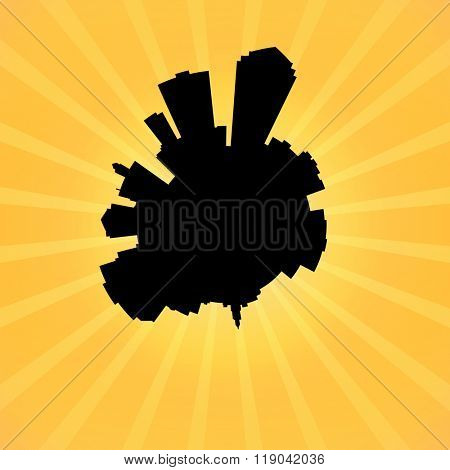 Circular Des Moines skyline on sunburst illustration