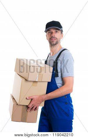 Friendly Postman With Parcels