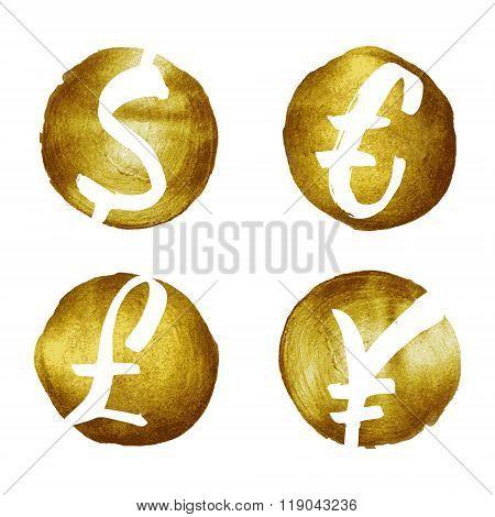 Currency symbols hand drawn set.