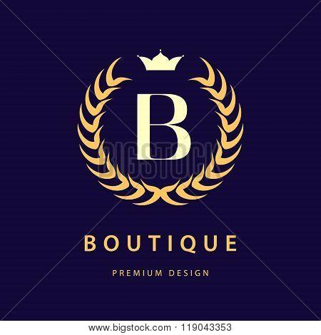 Monogram Design Elements, Graceful Template. Elegant Line Art Logo Design. Letter B. Retro Vintage I