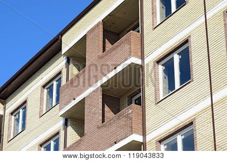 Balconies And Windows Of A Multi-storey New House