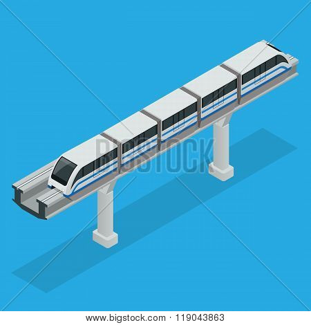 Monorail train. Sky Train. Vector isometric illustration of a Sky Train. Vehicles designed to carry