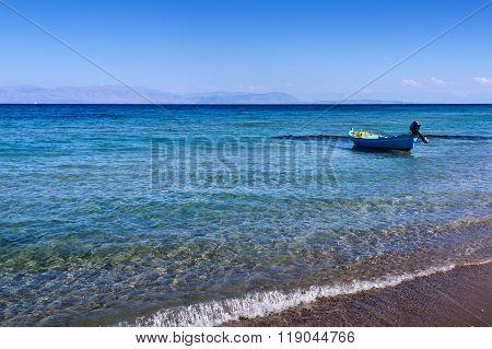 Small Boat Near The Shore On The Mediterranean Sea