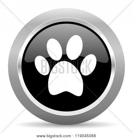 foot black metallic chrome web circle glossy icon