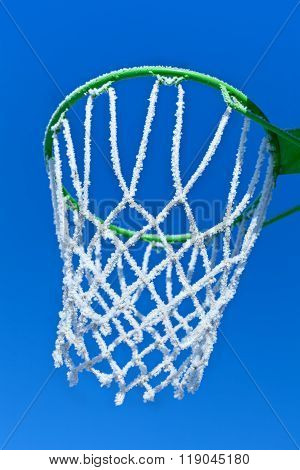 Basketball Rim And Net With Hoarfrost