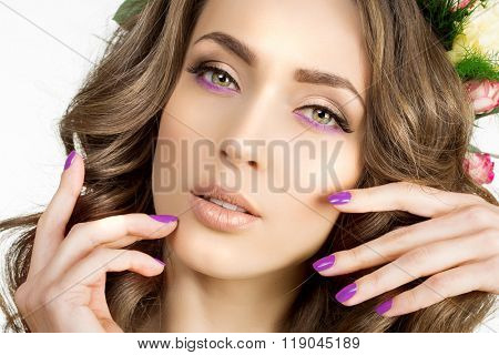 Spring woman Young  Girl flowers Beautiful model Bride bridesmaid makeup spa Lady make up Products Treatment
