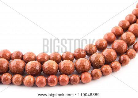 Mineral Gem Stone Brown Orange Gold Aventurine Gemstone On White