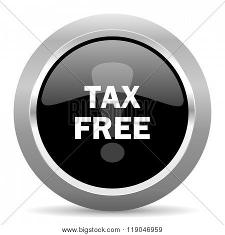 tax free black metallic chrome web circle glossy icon