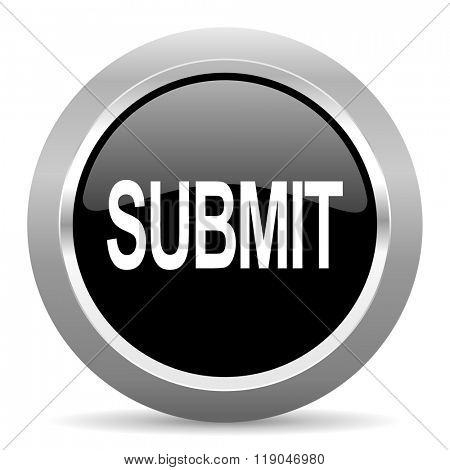 submit black metallic chrome web circle glossy icon