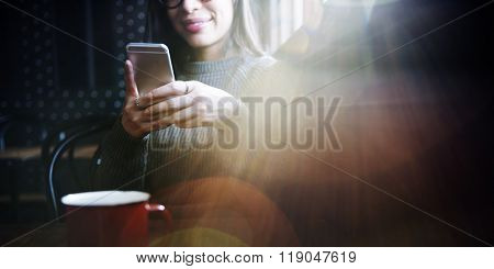 Browsing Mobile Phone Online Relaxation Concept