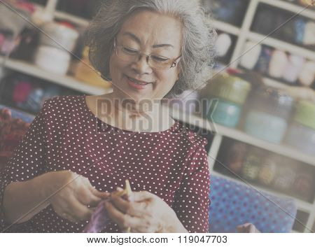 Crochet Senior Adult Hobby Handicraft Concept