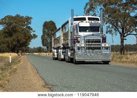 Semi Trailer Road Transport On Rural Road