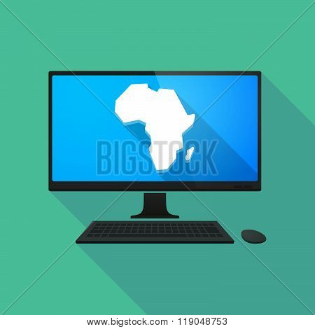 Personal Computer With  A Map Of The African Continent
