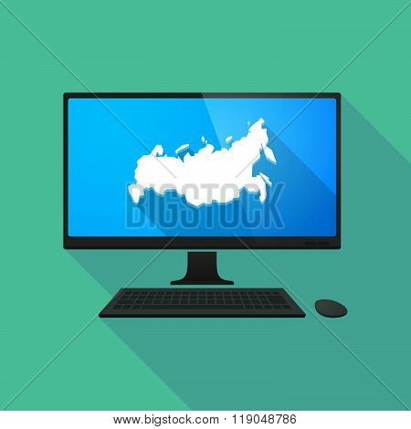 Personal Computer With  A Map Of Russia