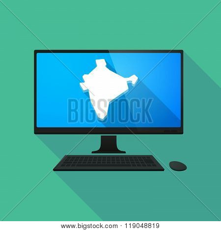 Personal Computer With  A Map Of India