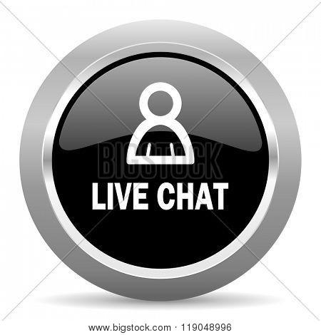 live chat black metallic chrome web circle glossy icon