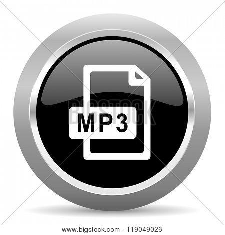mp3 file black metallic chrome web circle glossy icon
