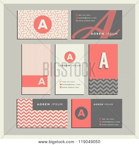 Set of coordinating business card designs with the letter a