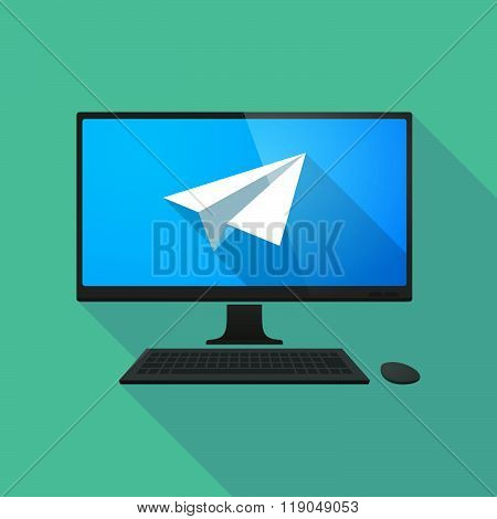 Personal Computer With A Paper Plane