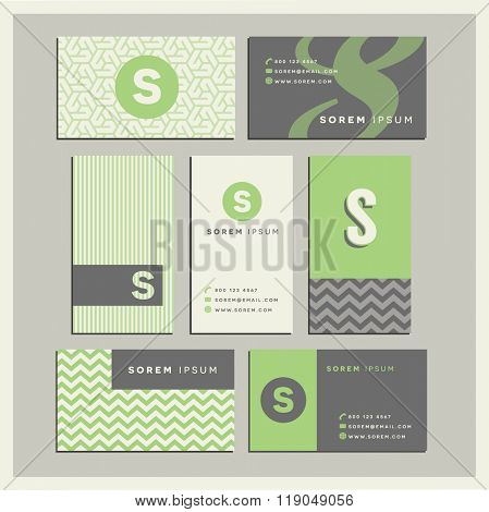 Set of coordinating business card designs with the letter s