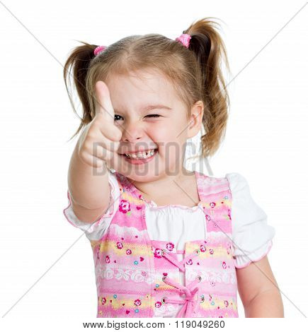 Funny little girl giving you thumbs up