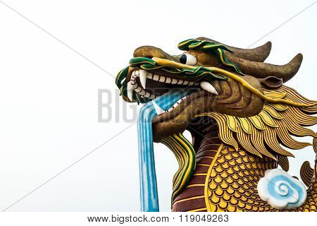 Big Dragon Statue Head On Isolated Background, Supanburi , Thailand