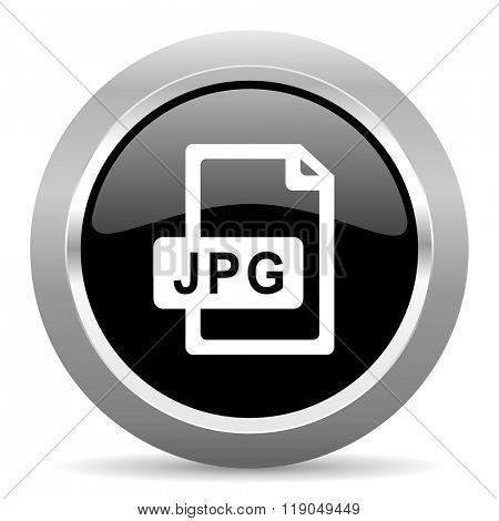 jpg file black metallic chrome web circle glossy icon